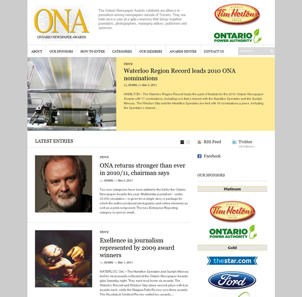 Ontario Newspaper Awards site launches