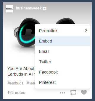 Tumblr embed a post